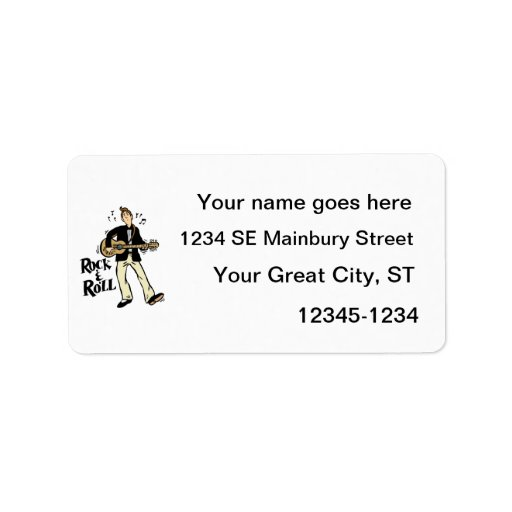 rock n roll guy playing guitar black.png personalized address labels