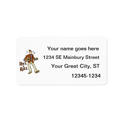 rock n roll guy playing guitar brown.png personalized address labels