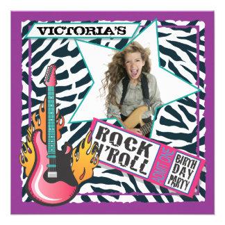Rock N Roll Rock Star Birthday Party Invitations