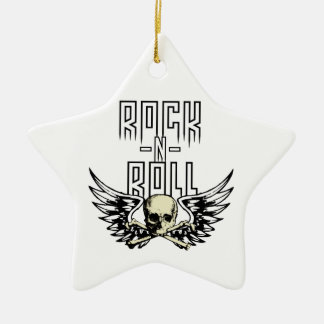 Rock n Roll Skull With Wings Ceramic Ornament