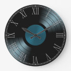 Rock n Roll Vinyl Record Album in Blue Large Clock