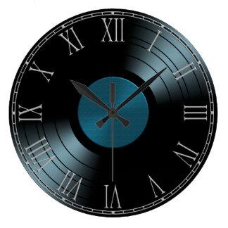 Rock n Roll Vinyl Record Album in Blue Large Clock