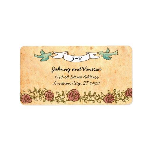 Rock 'n' Roll Wedding (Roses) Address Label