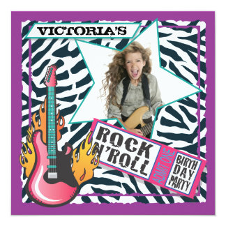 "Rock N'Roll Rock Star Birthday Party Invitations 5.25"" Square Invitation Card"