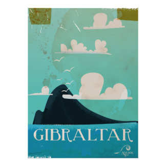 Rock of Gibraltar vintage travel poster