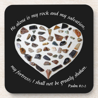 Rock of My Salvation Bible Verse Black Coasters