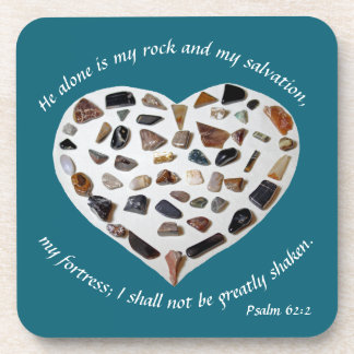 Rock of My Salvation Bible Verse Teal Coasters