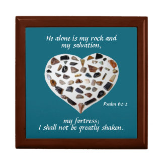 Rock of My Salvation Bible Verse Teal Jewelry Box