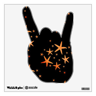Rock On 360 Wall Decal Black w/yellowgold Starfish