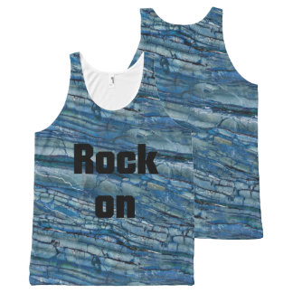 Rock On Blue & Gray Marble Stone All-Over-Print Tank Top