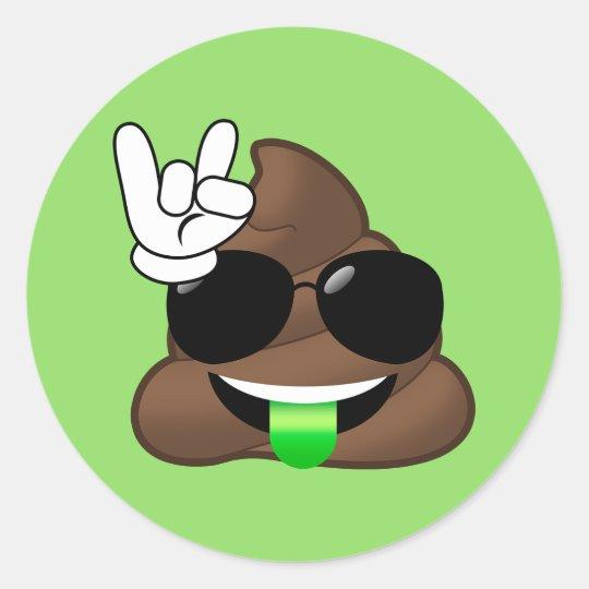 Rock On Cool Poop Emoji Green Stickers