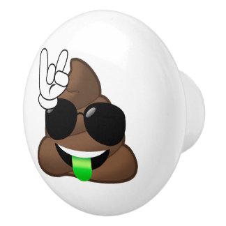 Rock On Emoji Poop Ceramic Knob