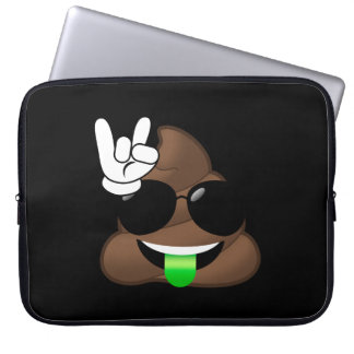 Rock On Emoji Poop Laptop Sleeve