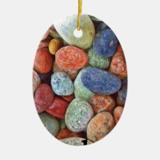 Rock On Multicolored Rocks Ceramic Ornament