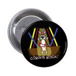 Rock On Pembroke Welsh Corgi Pinback Button