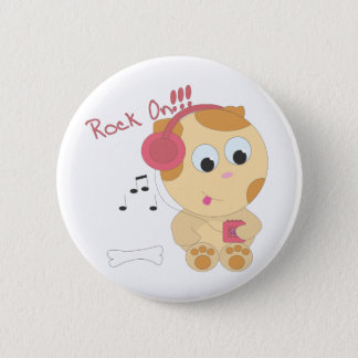 Rock on pup 2 inch round button