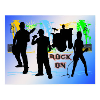 Rock On - Rock n' Roll Band Postcard