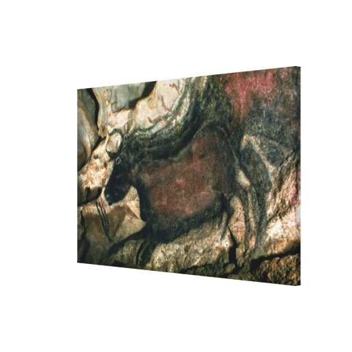 Rock painting of a black bull, c.17000 BC (cave pa Gallery Wrap Canvas