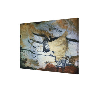 Rock painting of a bull with long horns canvas print