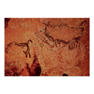 Rock painting of a hunting scene, c.17000 BC Poster