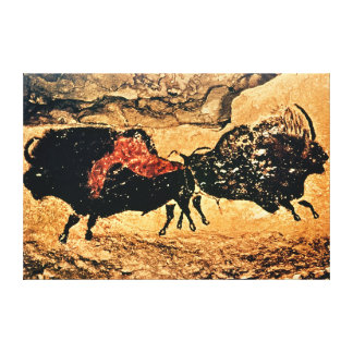Rock painting of bison, c.17000 BC Canvas Print