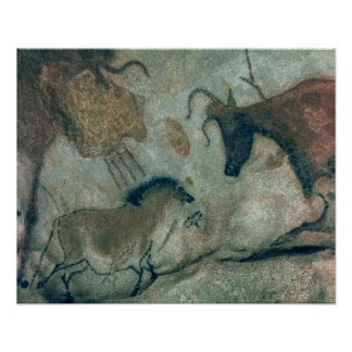 Rock painting showing a horse and a cow, c.17000 B Poster