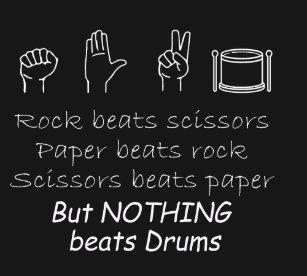 c57d5af0 Rock paper Nothing beats drums T-Shirt