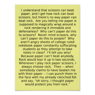 Rock Paper Scissors Debate Funny Poster Sign