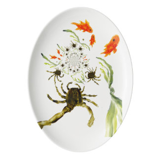 Rock Pool Crabs and Fish Fun Porcelain Serving Platter