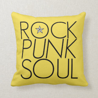 rock punk soul typography music moto yellow pillow