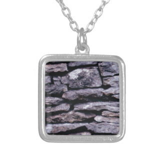 rock puzzle silver plated necklace
