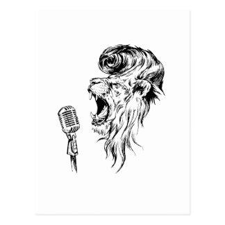Rock&roll lion postcard