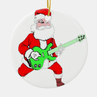 ROCK & ROLL SANTA CERAMIC ORNAMENT
