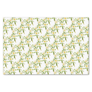 Rock rose art floral white tissue paper