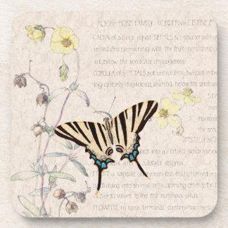 Rock Rose Flowers Wildlife Butterfly Coaster