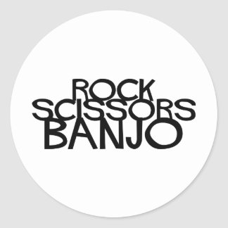 Rock Scissors Banjo Classic Round Sticker