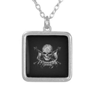 Rock Skull Square Pendant Necklace