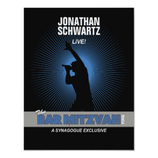 Rock Star Bar Mitzvah Reply Card in Blck/Silv/Blue