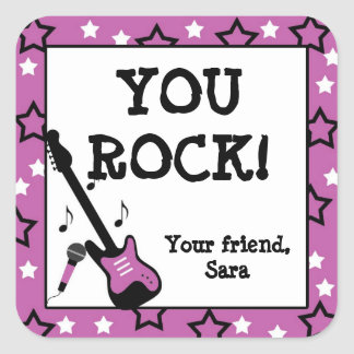 Rock Star Birthday Party Favor Stickers Purple