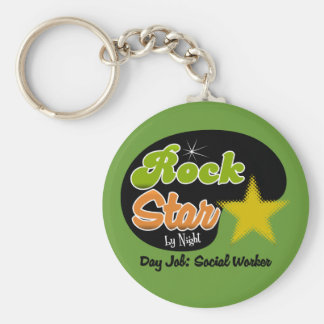 Rock Star By Night - Day Job Social Worker Basic Round Button Keychain