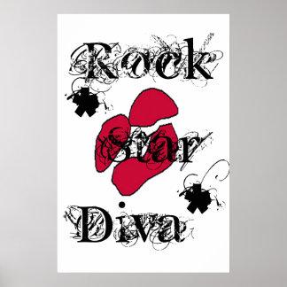 """""""Rock Star Diva In White"""" Poster"""