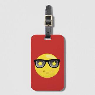 Rock Star Emoji on Red Luggage Tag