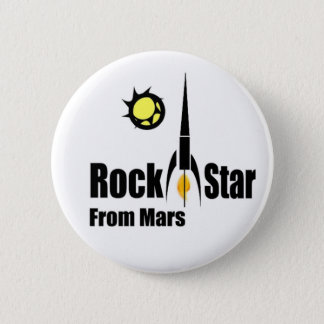 Rock Star from Mars with Spaceship 2 Inch Round Button