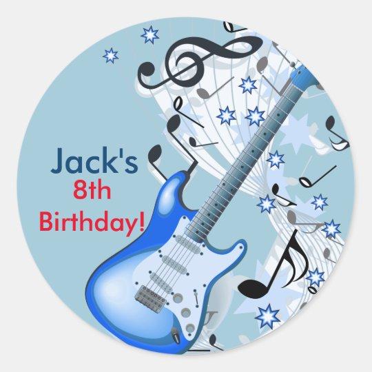 Rock star Guitar Birthday stickers