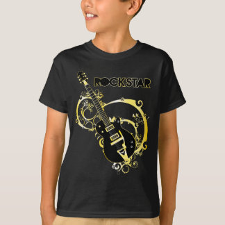 Rock Star Guitar - Black & Gold T-Shirt