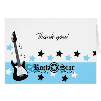 Rock Star Guitar *Blue* Thank you Note Card size