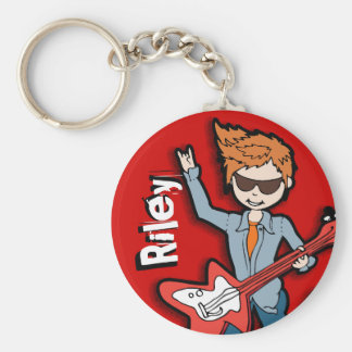 Rock star guitar playing boy graphic name keychain