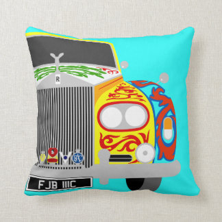 Rock star Lennon's psychedelic limousine car Throw Pillow