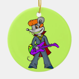 Rock Star Mouse Double-Sided Ceramic Round Christmas Ornament