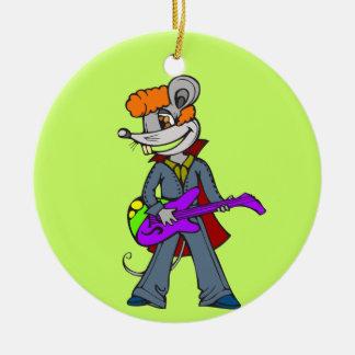 Rock Star Mouse Round Ceramic Ornament
